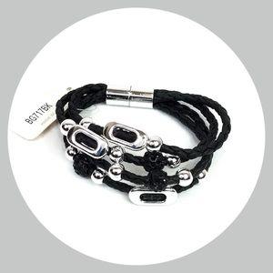 Womens Beaded Rope Bracelet Silver Magneti…